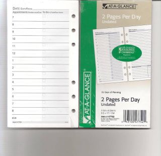 At A Glance 6 Ring Lined Note Pad 2 PG per Day Refill