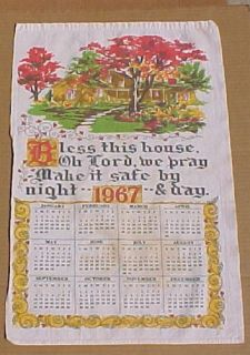 Linen 1967 Calender Kitchen Towel Bless This House