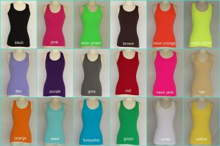 Womens Juniors Casual Basic Ribbed Tank Top Plain Seamless Racer Back