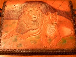 Custom Hand Made Tooled Genuine Leather Purse Handbag Lions