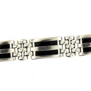 14 KT White Gold Black Onyx Mens Link Bracelet