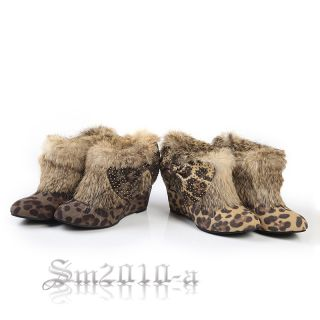 666 Ladies Leopard Lipan Sexy Fashion Wedge Heel Platform Ankle