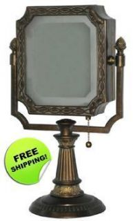 Lighted Vanity Mirror Bronze Finish Pull Chain Dual Sided Magnifying