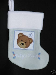 Lillian Vernon Babys First Christmas Stocking Blue New