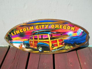 lincoln city surf shop woody wagon surfboard sign surfing surfer