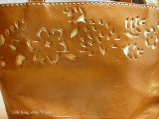 Floral Design Genuine Leather Purse Small Satchel Handbag 3 Section