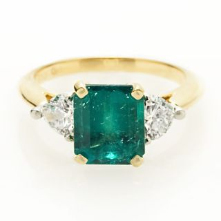 Platinum 18K Yellow Gold Diamond Emerald Ring