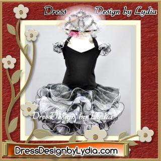 386Z Crown Black Little Miss America Pageant Glitz Back x Dress 9 18M
