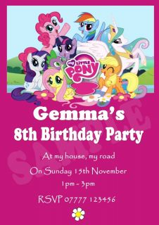 10 x My Little Pony Party Invitations Personalised Party Invites