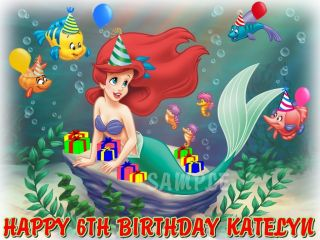 Ariel Little Mermaid Princess Edible Cake Topper Image Decorations