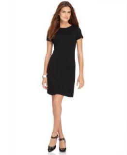 Black Solid Short Sleeve Crew Neck Little Black Dress XS BHFO