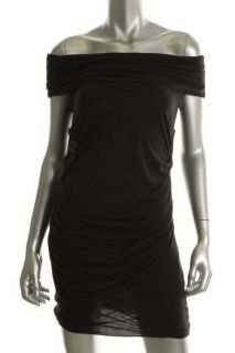 Lena Black Shirred Cowl Neck Sleeveless Little Black Dress XS