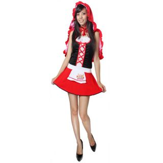 Little Red Riding Hood Cape Apron Lace Up Costume XS Size