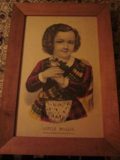 Little Willie Currier Ives Lithograph Print Frame Original Antique Old