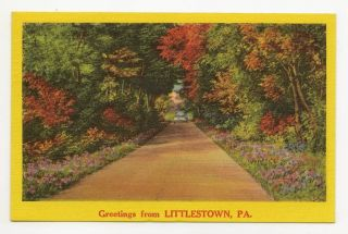 Littlestown PA Vtg Greeting Country Road 1958 Car PC