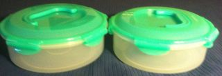 New Lock Lock 2 Piece Lids Round Storage Containers Green Handled Tops