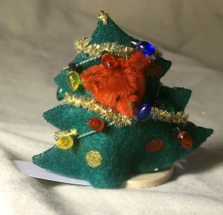 Miniature 2 inch Teddy Bear in Christmas Tree Costume by Rita Loeb