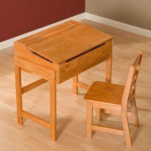 Lipper Childs Wood School Desk Storage Flip Top Lid