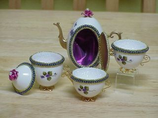Decorated REAL Ostrich Duck Goose Egg Tea Set Trinket Box Easter