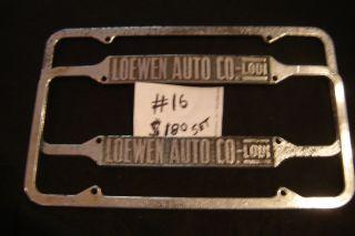 1955 California License Plate Frames Loewen Auto Co Lodi F 16