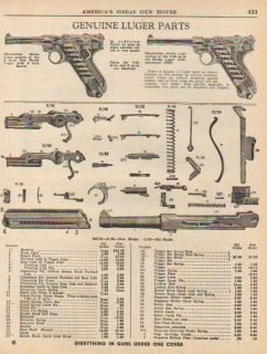 1961 Luger Ad Pistol Parts List