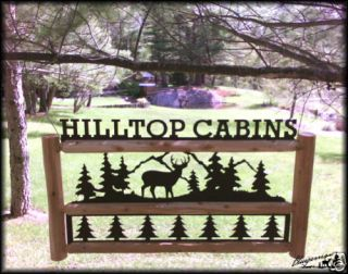 Deer Sign Rustic Log Decor Outdoor Signs Motel Signs