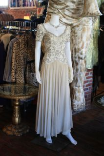 1930s 30s Deco Beaded Ivory Silk Gown Dress Wedding Party XS Small