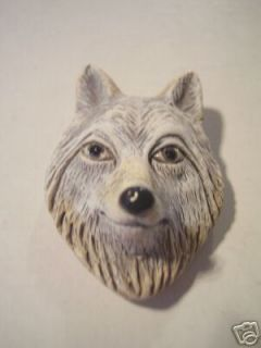 Ceramic Detailed Black Gray Lone Wolf Face Focal Pendant Bead
