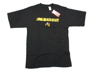 Long Beach State 49ers Adult Black Embroidered T Shirt New