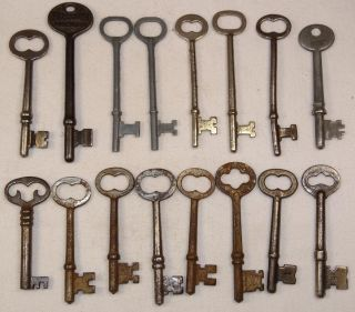 Vtg Antique Russwin Steel 16 Piece Skeleton Barrel Long Key Lot