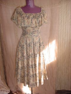 Samuel Blue Bohemian Prairie Paisley Print Roses Dress Vintage 1970s