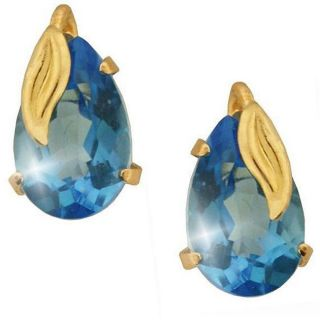 Teardrop Shaped London Blue Topaz 1 Carat Stud Earrings Solid 14k