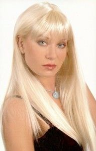 Long Blond Straight Hair Wig w Wispy Bangs Hairdo Piece