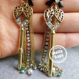 Heart Long Key Betsey Johnson Linear Earrings