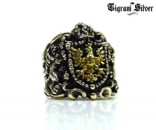 TIGRANI KING DAVID LION CREST LORD YURMAN BABY 925 STERLING SILVER 18K