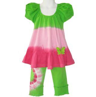 AnnLoren Girls Summer Melon Tie Dye Capri Set Clothing