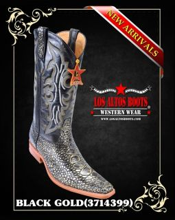 Square Toe Caguama Print Cowboy Boot by Los Altos Boots