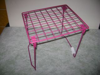 Pink WIRE School LOCKER RACK Book SHELF Home Organizer End Table Stand