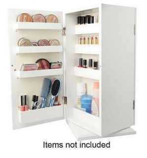 Deluxe Spinning Mirrored Cosmetic Organizer by Lori Greiner White