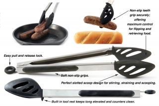 Grip EZ Stainless Steel Silicone Locking Stir Flip Serve Tongs