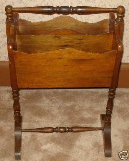 LB004 Antique Vtg Solid Wood Magazine Rack Stand