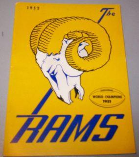 1952 Los Angeles Rams Press Book TV Media Guide