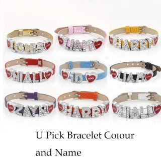 One Direction Wristbands Slider Letters Fashion Bracelet I Love 1