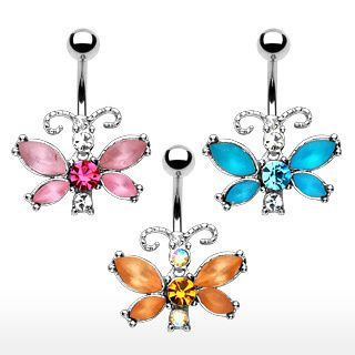 Gem Butterfly Dangle Belly Navel Rings Body Piercing Jewelry