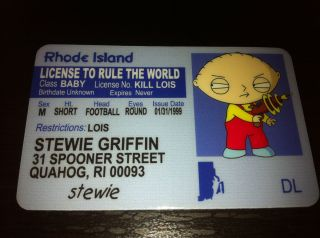 Family Guy Stewie Griffin ID Card Quahog Lois Peter Meg Seth