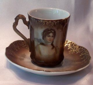 QUEEN LOUISE OF PRUSSIA PORTRAIT PORCELAIN DEMITASSE CUP & SAUCER   C