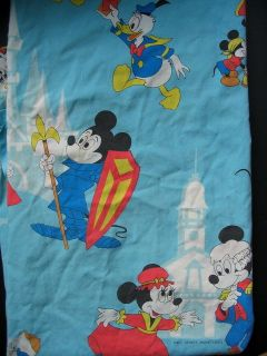 Vtg Disneyland Disney Flat Sheet Fabric Mickey Mouse Walt World Magic