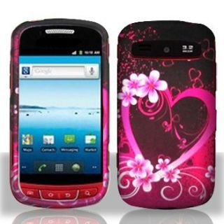 Purple Love Hard Protector Case Snap on Phone Cover for Cricket