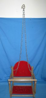 Antique VTG Childs Wood Wooden RED Swing Playground Tree Baby Doll