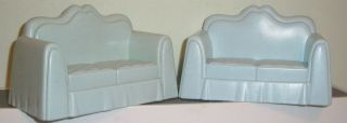 VICTORIAN DOLLHOUSE SOFA LOT OF 2 VINTAGE COUCH 5 INCH LOVESEATS